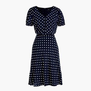 J Crew Polka Dot Short Sleeve Swing Dress